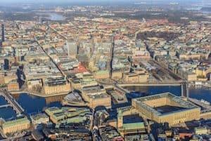 Vue aérienne de Stockholm