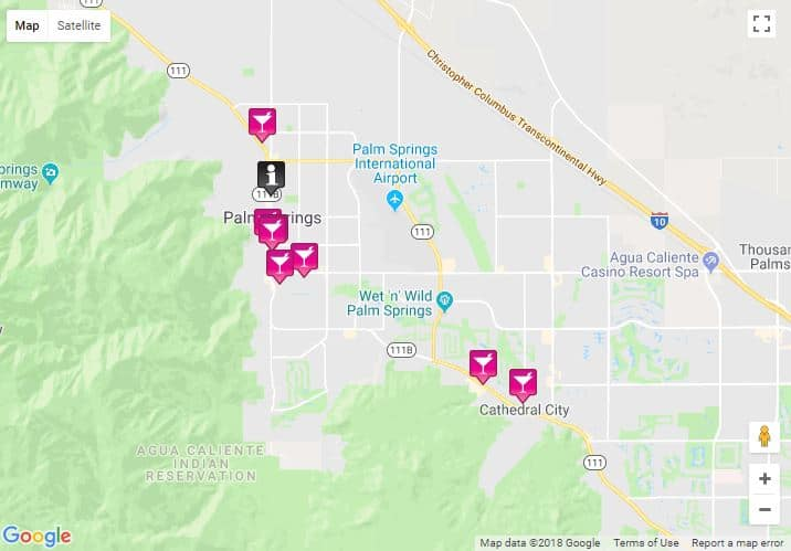 Palm Springs Map 2019 - bars, saunas, hotels ... on map of half moon bay ca, map of miami restaurants, map of west palm beach resorts, map of miami beach, map of portland jetport, map of la quinta resort, map of coronado island, map of ventura hotels, map of palm springs golf, map of ca upland ca, map of amelia island, map of bethany beach hotels, map of ithaca hotels, map of grand pacific palisades, map of florida,