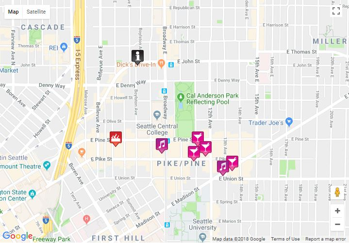 Seattle Map 2019 - bars, clubs, saunas, hotels ... on