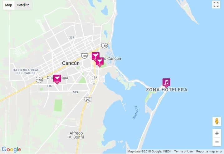 Cancun Map 2019 - Bars, Saunas and more - Travel on
