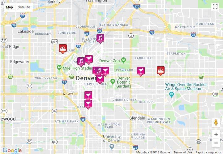 Denver Map 2020 - bars, clubs, saunas ... on denver on map, denver maps by neighborhood, denver art museum map, denver city street map,