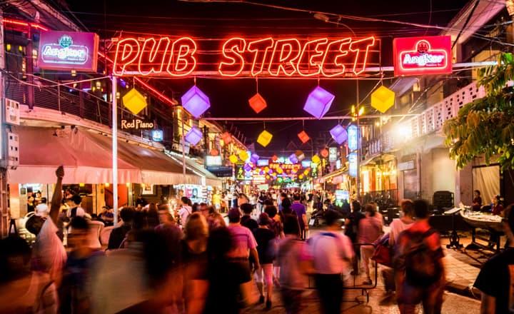 Nightlife street in Siem Reap