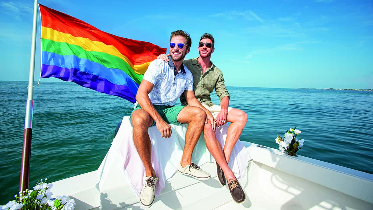 Gay couple boating in Key West