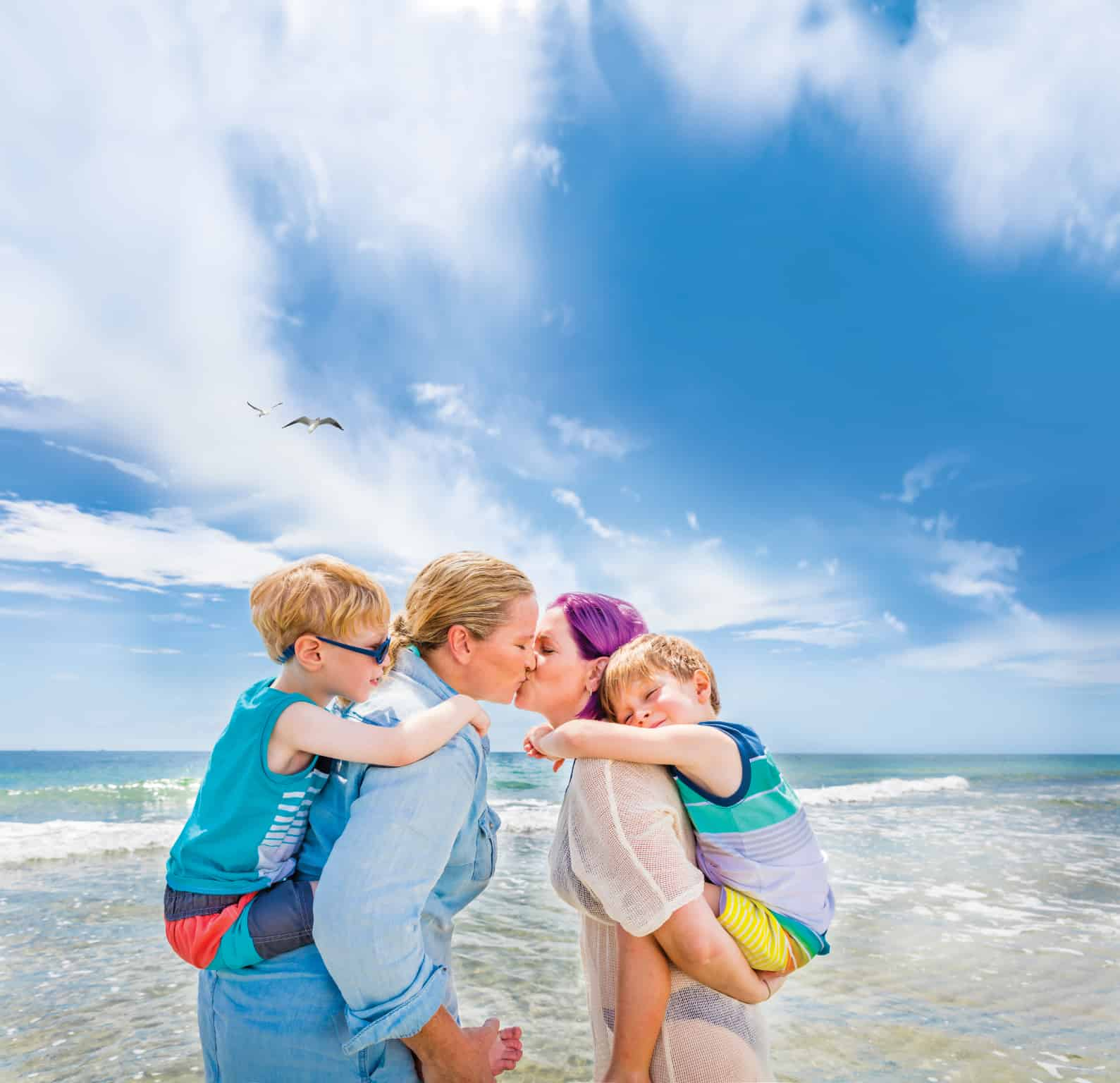 Lesbian couple and children in Fort Lauderdale