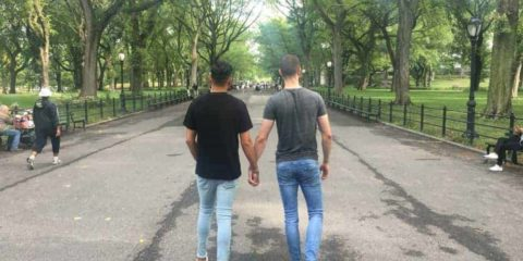 Gay couple in Central Park New York